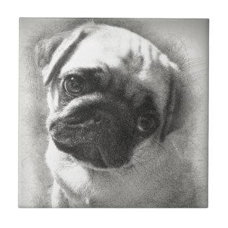 Pug Puppy Dog Sketch Tile