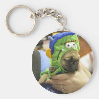 Pug Puppy Frankenpug 2 Basic Round Button Keychain