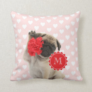 Pug Puppy holding Red Carnation Monogram Throw Pillow