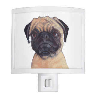 Pug Puppy, Pastel Painting, Cute Pug Face Nite Lites