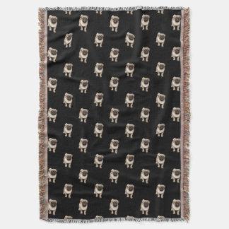 Pug Puppy Pattern on Black Throw Blanket