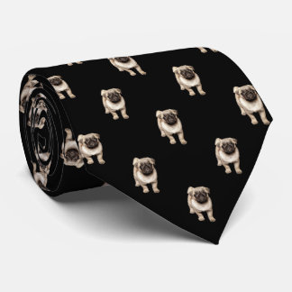 Pug Puppy Pattern on Black Tie