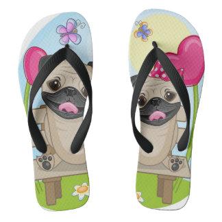 Pug Pups In Love Flip Flops