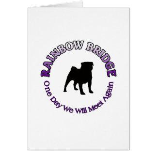 PUG RAINBOW BRIDGE SYMPATHY KEYCHAIN - DOG PET GREETING CARD