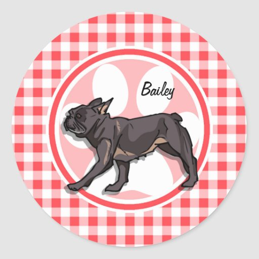 Pug; Red and White Gingham Round Sticker
