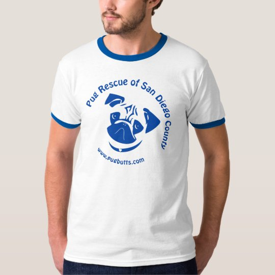Pug Rescue San Diego County Logo - Blue T-Shirt
