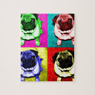 Pug Richi in 4 colors Jigsaw Puzzle