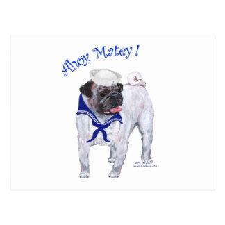 Pug Sailor Postcard