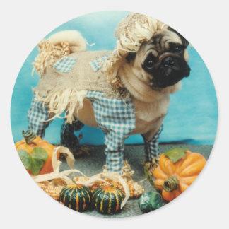 Pug Scarecrow Stickers