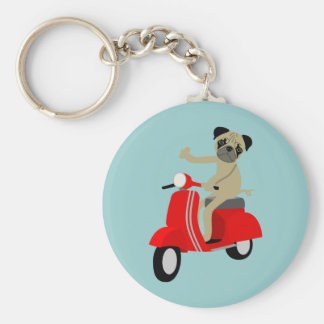 Pug Scooter Key Chains