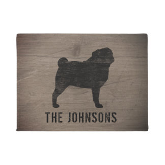 Pug Silhouette Personalized Doormat
