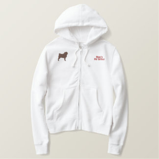 Pug Silhouette with Optional Customizable Text Embroidered Hoodie