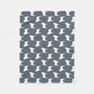 Pug Silhouettes Pattern Fleece Blanket