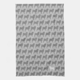 Pug Silhouettes Pattern Kitchen Towel