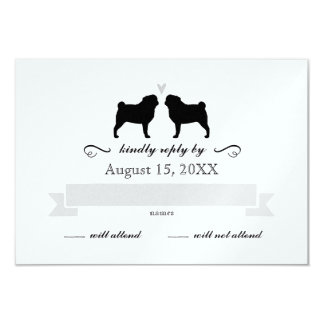 "Pug Silhouettes Wedding RSVP Reply 3.5"" X 5"" Invitation Card"