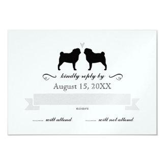 "Pug Silhouettes Wedding RSVP Reply 3.5"" X 5"" Invitation Card"
