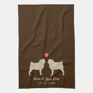 Pug Silhouettes with Heart and Text Hand Towel