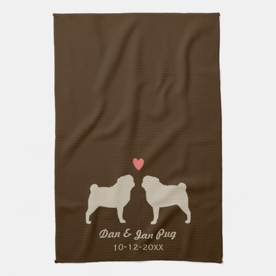Pug Silhouettes with Heart and Text Kitchen Towel