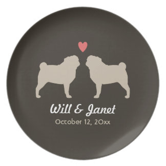 Pug Silhouettes with Heart and Text Party Plates