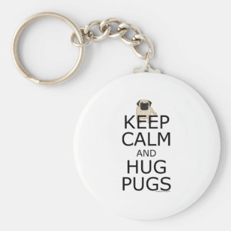 Pug Slogan: Keep Calm Hug Pugs Basic Round Button Keychain
