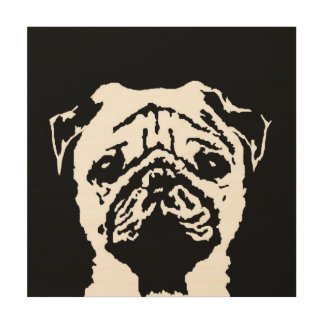 "Pug Stencil Wood 12""x12"" Wall Art"
