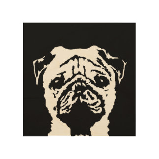 "Pug Stencil Wood 8""x8"" Wall Art"