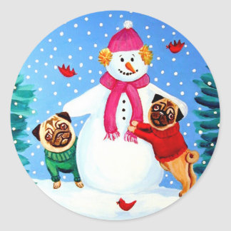 Pug Stickers Frosty's Helpers