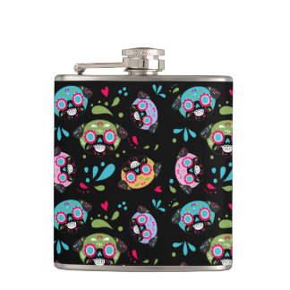 Pug Sugar Skull Pattern on Black Hip Flask