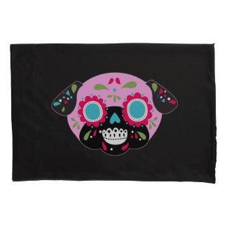 Pug Sugar Skulls Pillowcase Set Pink and Blue