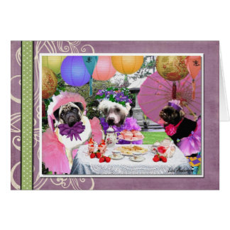Pug Tea Party Card