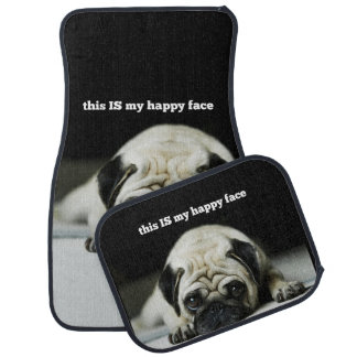 """Pug """"this IS my happy face"""" Car Mat Set"""