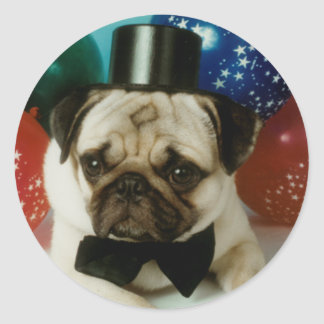 Pug Tophat Birthday Stickers
