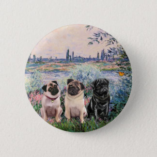 Pug Trio - By the Seine 2 Inch Round Button
