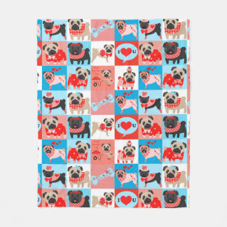 Pug Valentine Quilt Fleece Blanket