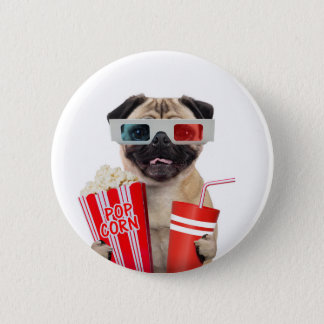 Pug watching a movie 2 inch round button