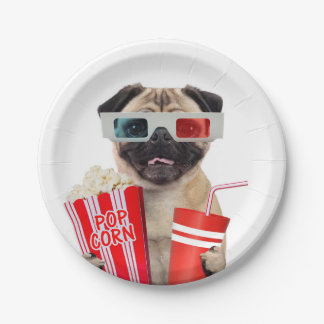Pug watching a movie 7 inch paper plate