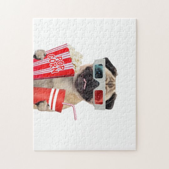 Pug watching a movie jigsaw puzzle