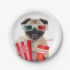 Pug watching a movie paper plate