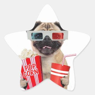Pug watching a movie star sticker