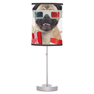 Pug watching a movie table lamp