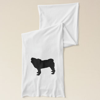 """Pug"" White Jersey Scarf"
