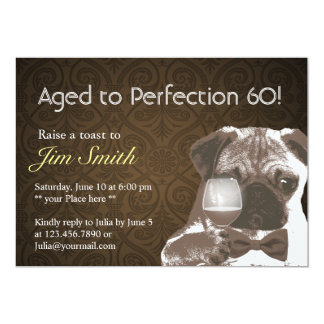 Pug & Wine Perfection 60 Birthday Party Invite