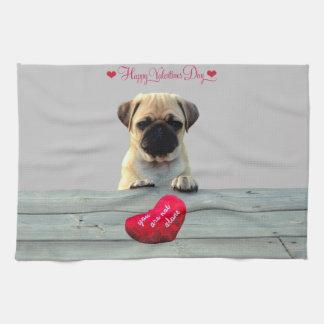 Pug Wishing Happy Valentine's day kitchen towel