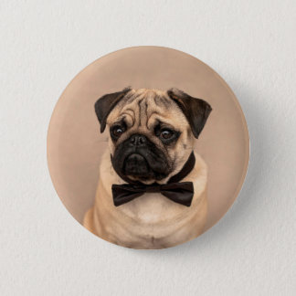 Pug with Bow Tie 2 Inch Round Button