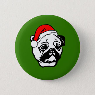 Pug with Christmas Santa Hat 2 Inch Round Button