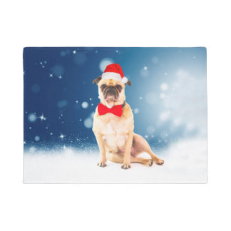 Pug with Christmas Santa Hat Doormat