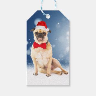 Pug with Christmas Santa Hat Gift Tags