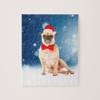 Pug with Christmas Santa Hat Jigsaw Puzzle