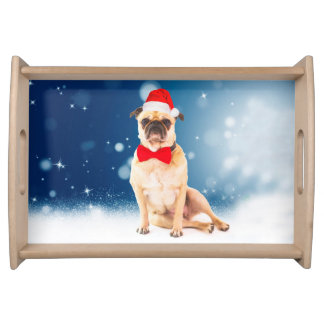 Pug with Christmas Santa Hat Serving Tray