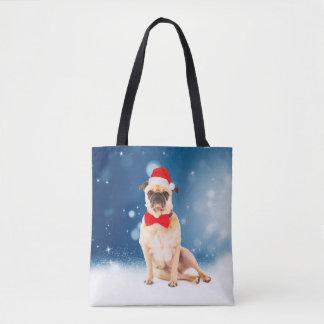 Pug with Christmas Santa Hat Tote Bag